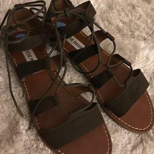 0ddacec1ef601 Steve Madden Shoes - Steve Madden lace up gladiator sandal olive green